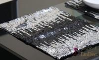 #187 promotion hot sale europe  sequin gold sequin table mat&placemat mat wholesale freeshipping 4pcs/lot