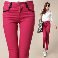 Женские брюки Hot Sale 2013 Women's Fashion White Trousers Jeans Female Bell-bottom Casual Cotton Pants Black 25-31