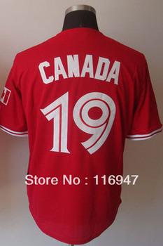 Baseball Jerseys Toronto Blue Jays #19 Jose Bautista Red Canada Day Jersey size 48-56