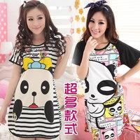 free shipping Summer women's 100% short-sleeve modal  cotton nightgowns cartoon panda princess lounge o-neck modal sleepwear