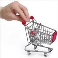 Free shipping 5pcs/lot  novelty Storage Mini Shopping Cart Desktop mini supermarket trolleys