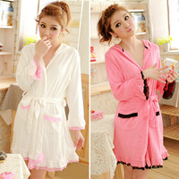 New arrival with a hood 100% cotton sleepwear long-sleeve female robe nightgown bathrobes bath towel waste-absorbing embroidery