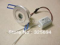 1W LED Recessed Downlight Cabinet Lamp silver shell 85-265v down light+driver 5pcs/lot  Free Shipping of HongKong Post Air Mail