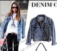 2014 Fashion model women Street Style lady Sharp Power Studded Shouder Denim Jeans Tuxedo Coat Blazer Jacket