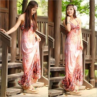 Seaside Resort In Summer Dress V-neck Short-sleeved Long Skirt. Factory Outlets, Free Shipping