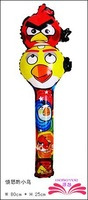 Free Shipping :78x25cm bird cheering stick,cartoon head balloon clappers , inflatable balloon stick