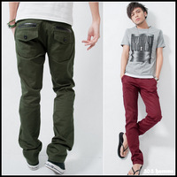 FREE SHIPPING 2013 tidal current male slim casual pants back pocket leather flip pocket mosaic casual pants male