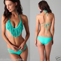 New Sexy Lady Bandeau Swimwear Fringe Halterneck Bathing Pad Bikini set Swimsuit