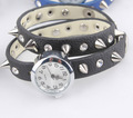 romotion! Rivet bracelet strap fashion vintage table long strap bullet rivet female watch Punk Spike Cow Leather Watches