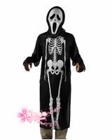 free shipping Halloween clothes mask black cloak pork ribs ghost mask set