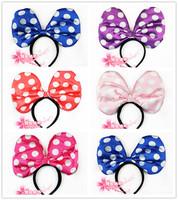 free shpping 6pcs/lot Halloween supplies hair bands big bow belt - dot headband