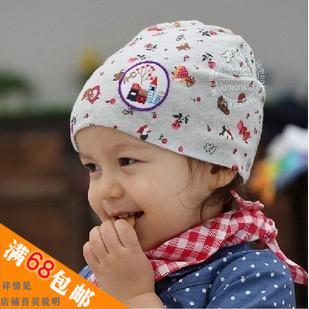 baby hat Lemonkid 2012 spring and autumn child cartoon labeling pocket female hat child cap baby cotton cap(China (Mainland))