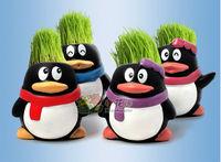 NEW Mini Novel Naughty Bonsai Grass QQ Penuins Doll Hair Plant Fun Chinese Gift Free Shipping