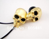 Metal Skull Earphone In-Ear Wired 3.5mm jack for computer mobile phone mp3 player with retail box 5pc