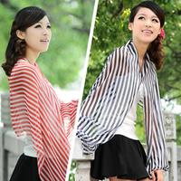 Stripe print Anti-UV Beach Shawl for Lady 6 Colors
