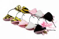 free shipping 10pcs/lot Child cartoon bell headband hair accessory cat headband tiger hair bands white cat ears