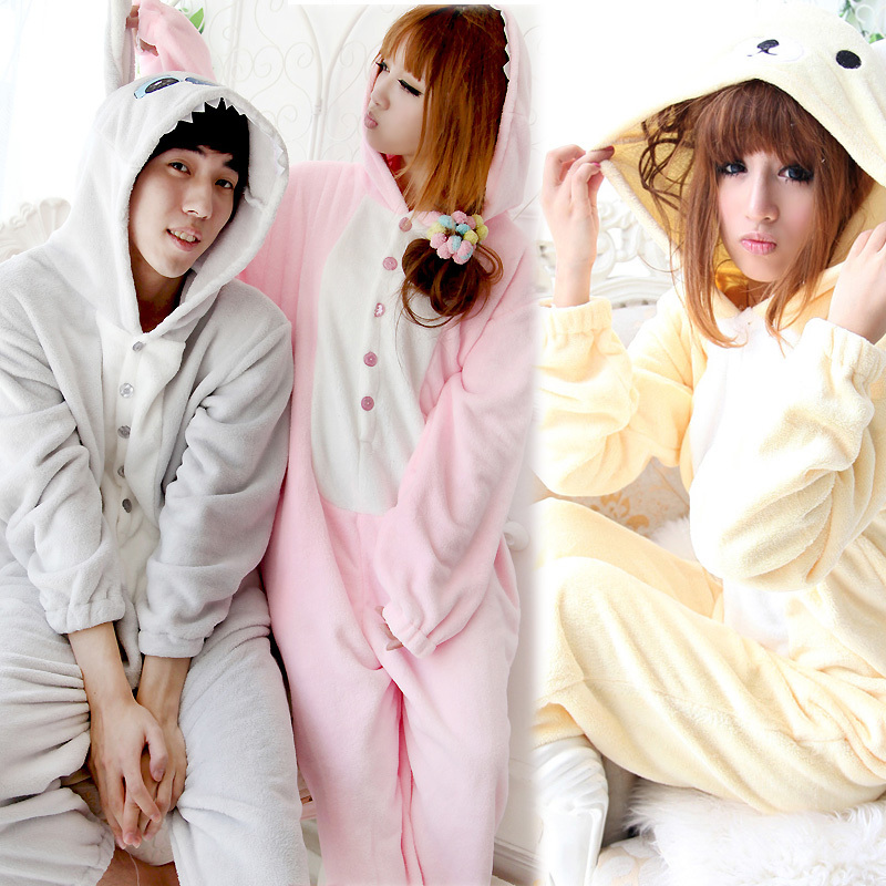 Sleepwear coral fleece autumn and winter thickening cartoon women's baby bear with a hood one piece sleepwear lounge at home(China (Mainland))