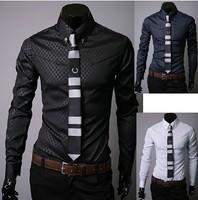 Free shipping!New Mens Designer Stripes Dress Shirts Tops Casual Slim long shirts