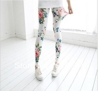New Fashion knitting LG-004 women pants elastic gaffiti flower skinny printed leggings 3 colors plus size FREE SHIPPING 1PC/LOT