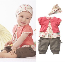 Retail 1pcs free shipping top quality!cotton baby clothing set cute girl clothes set t-shirt+shorts+coif summer kid 2pcs suit(China (Mainland))