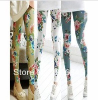 New Fashion knitting LG-004 pants women 2013 flowers skinny printed leggings 3 colors High elastic plus size FREE SHIPPING 1PC
