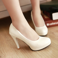 2013 spring single shoes brief all-match high-heeled shoes ol shoes work platform thin heels japanned leather female shoes