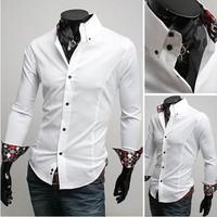 Free shipping New Men's Casual shirts Luxury Medial Satin embellishment Design Men's long-sleeved shirt