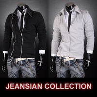 Men's clothing hot-selling casual outerwear 100% cotton double zipper black ash sweatshirt 1512