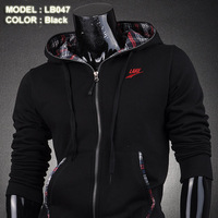 New arrival male hooded cardigan sweatshirt autumn fashion fleece sweatshirt male lb047