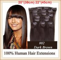 "Retail 20"" 22"" 8pcs/set 100g #2 Darkesr Brown Full Head Human Clip In Hair Extensions Salon Free Shipping"