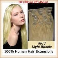 "Bulk  20"" 22"" 8pcs/set 100g #613 Lightest Blonde Full Head Clip In Human Hair Extensions Clip In Extension Wholesale 10set/lot"