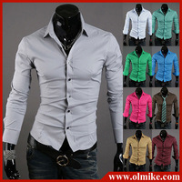 2014 New Fashion Men's Stylish Casual Slim Fit shirt Long Sleeve Dress Shirts 2Color Black Blue S/M/L/XL/XXL/XXXL free shipping