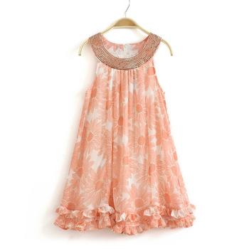 Free shipping! 2013 summer girls child one-piece girl floral chiffon dress children paillette orange sweep flower long dress