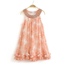 Free shipping! 2013 summer girls child one-piece girl floral chiffon dress children paillette orange sweep flower long dress(China (Mainland))