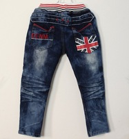SKZ-273, free shipping baby denim pants cool boy flag jeans blue size 100-140 spring child trousers wholesale 5 pcs/lot