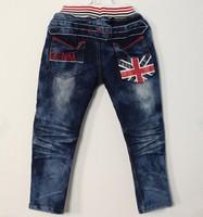 SKZ-273, free shipping baby denim pants cool boy flag jeans blue size 100-140 spring child trousers wholesale 5 pcs/lot