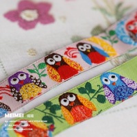 Free shipping Zakka handmade accessories ribbon laciness multicolour owl 1.6 width:1.6cm length:9m Jacquard Ribbon