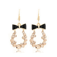 Min. order is $10 (mix order)free shipping 2013 new jewelry european Fashion noble lovely enamel bow crystal drop earring female