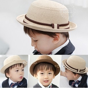 retail free shipping!Dome flanging children straw hats small summer sun cap kids shipping children jazz caps kids fedora hat