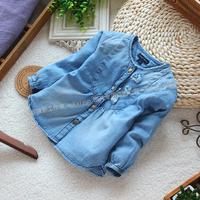 Free shipping Retail new 2013 spring autumn children's wear baby denim outerwear girl shirt cardigan coat kids casual jacket