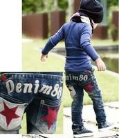 SKZ-275, 5 pcs/lot 2013 child pants korean boy Denim 86 two star pocket design jeans blue baby trousers wholesale free shipping