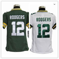 Discount cheap #12 Aaron Rodgers green white  kids youth Jersey Embroidery  BaY Stripped football jerseys ,free shipping fee