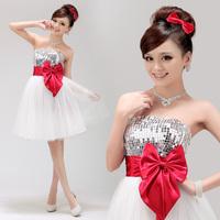 Sequines Ball Gown Dress Short Design Sleeveless Bridemaid Wedding Dress Butterfly Bow Patchwork Off Shoulder Party Dress