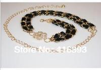Free Shipping wholesale New Fashion Women's Nice color belt, Plum blossom flannelette waist chain gold chain -Q1244253719
