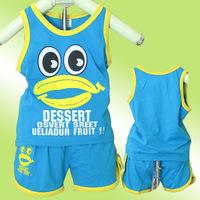 Retail 1set 2014 New summer free shipping Children cotton sporrt suit 2pcs(sleeveless tshirt+pant)girl boy eye frog clothing set