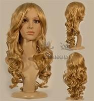 long blonde curl women's hair wigs +cap+gift