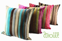 #00 colorful strip flocking cushion pillow cover freeshipping min5pcs/lot wholesale 45cm