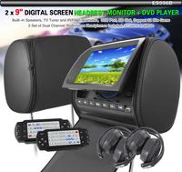 "FREE SHIPPING 2 x 9"" Screen HD Car Headrest Monitor DVD +TV 2 IR Headphone ES998D FR/FM Radio USB DVD/VCD/DIVX/MP4/MP3/MPEG4"