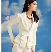 Spring&Autumn  Large  White   Bow  Slim   Long-sleeve Suit  Women's  Professional   Blazers