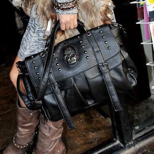 2012 fashion punk skull rivet bag fashion all-match women's handbag big bag